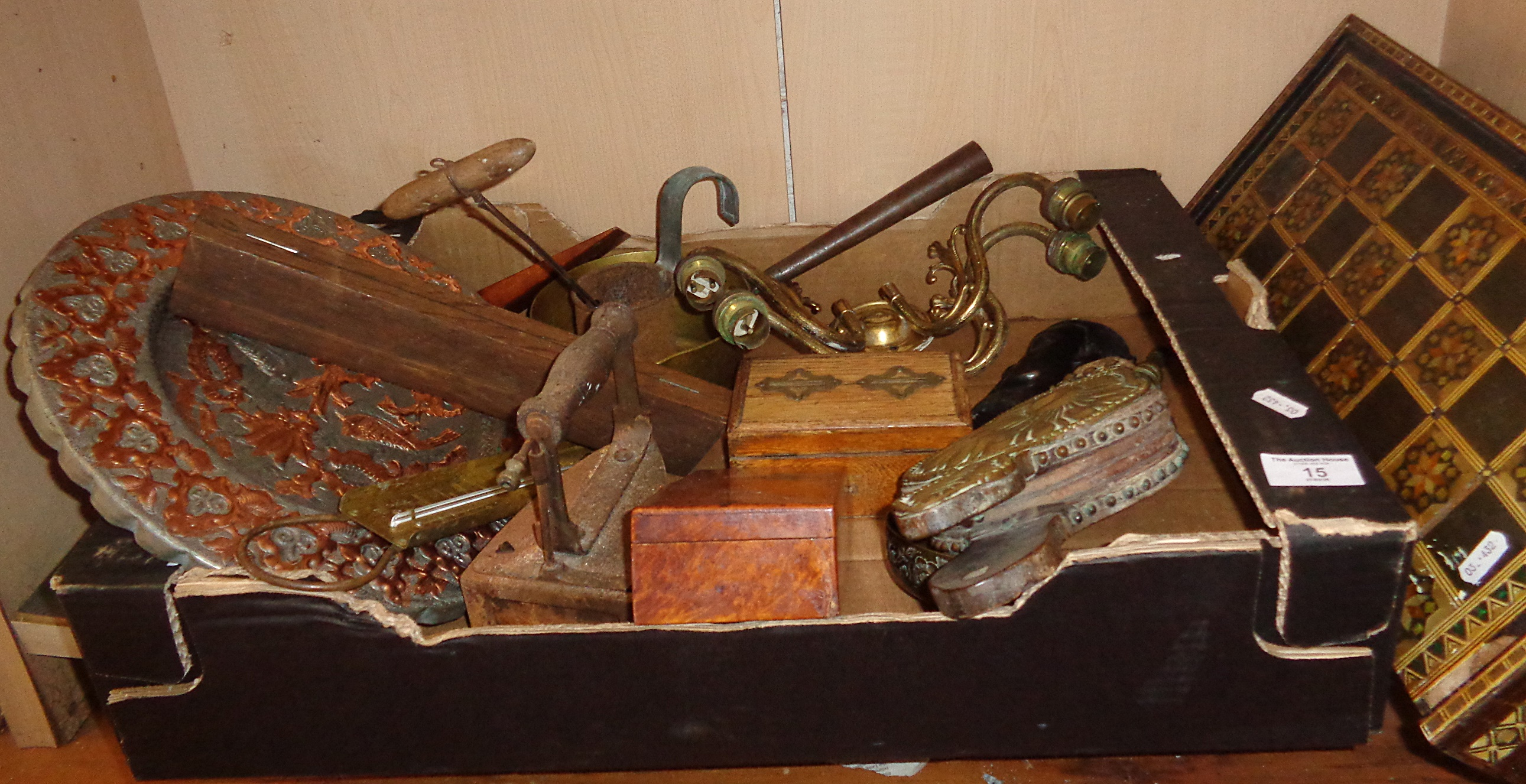 Lot 15 - Shelf of assorted brass and metal items and an inlaid backgammon/chess box