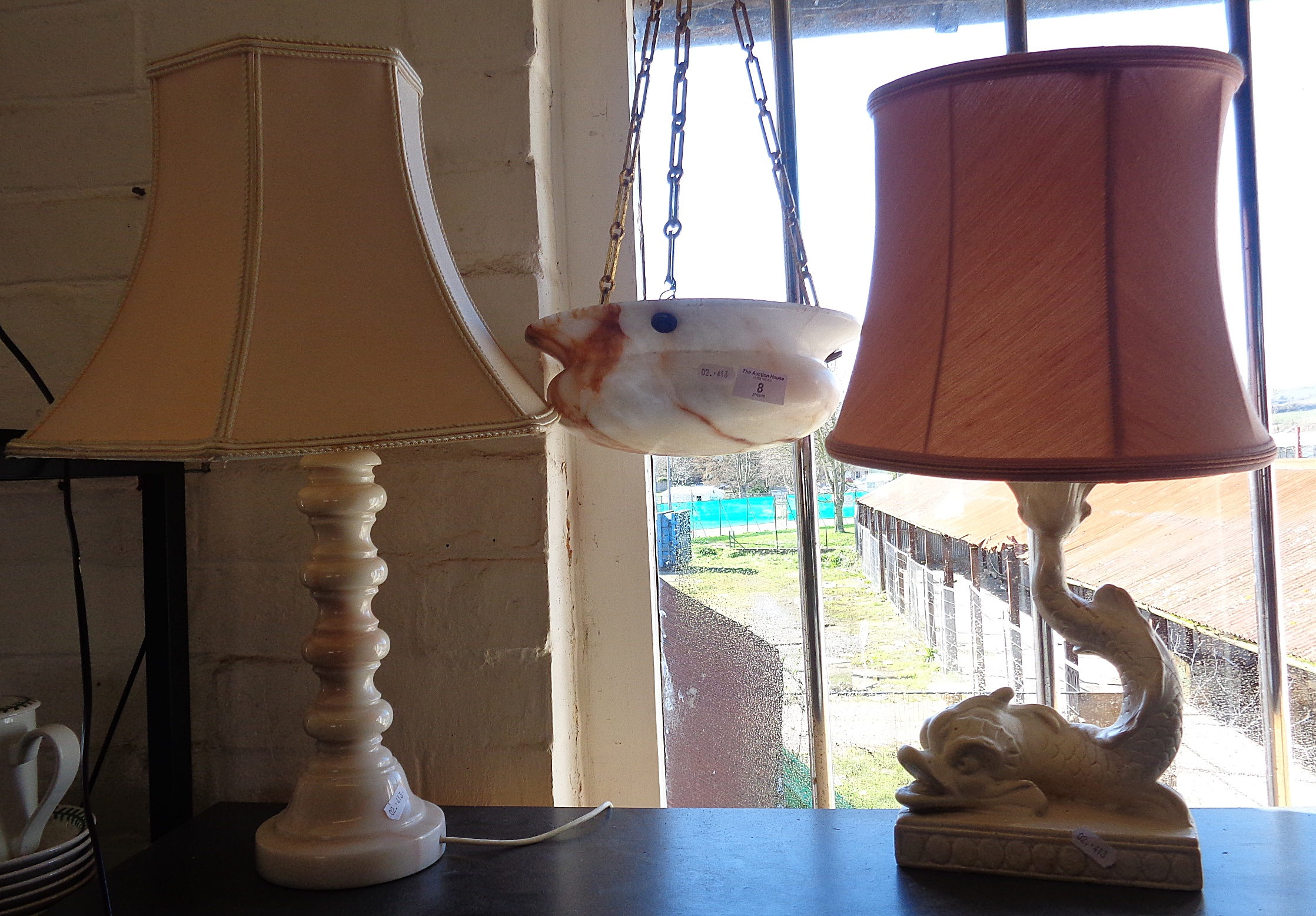 Lot 8 - Two table lamps and alabaster ceiling shade
