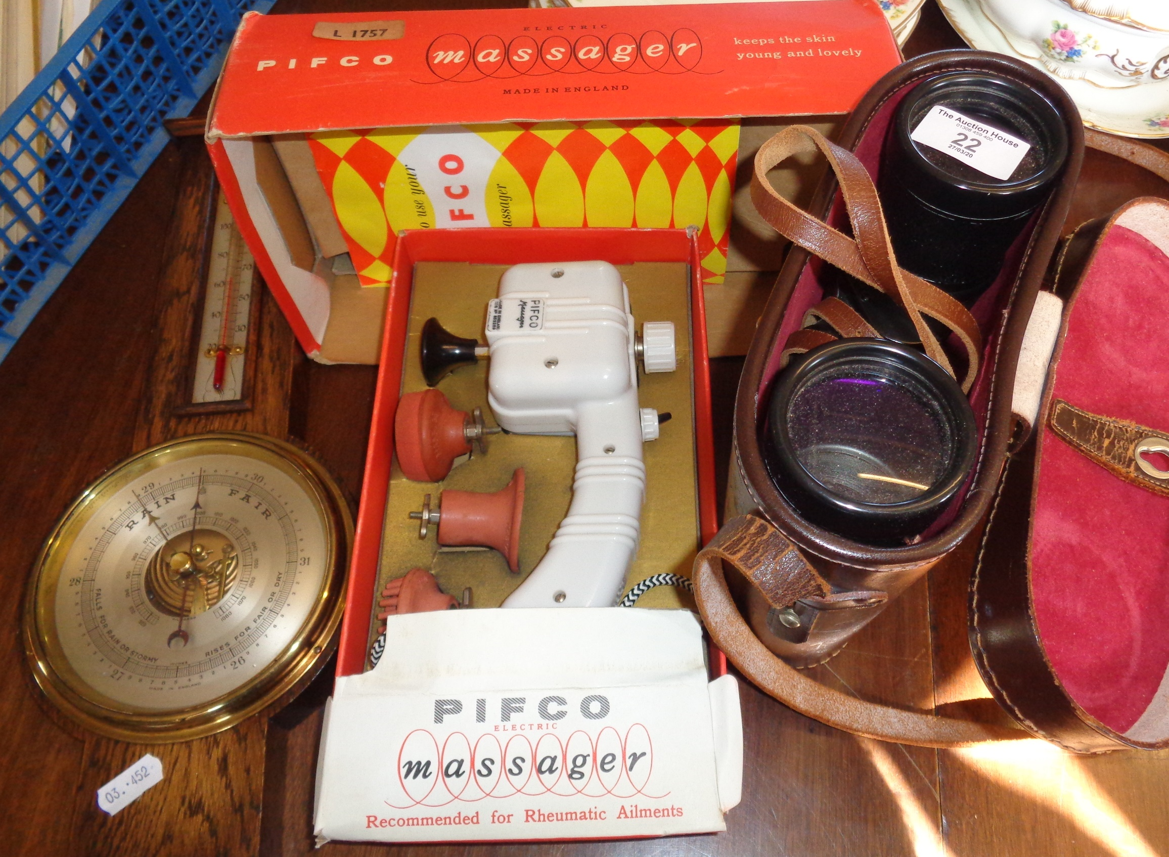 Lot 22 - A Pifco Electric Massage machine in original box, a barometer and a pair of USSR binoculars