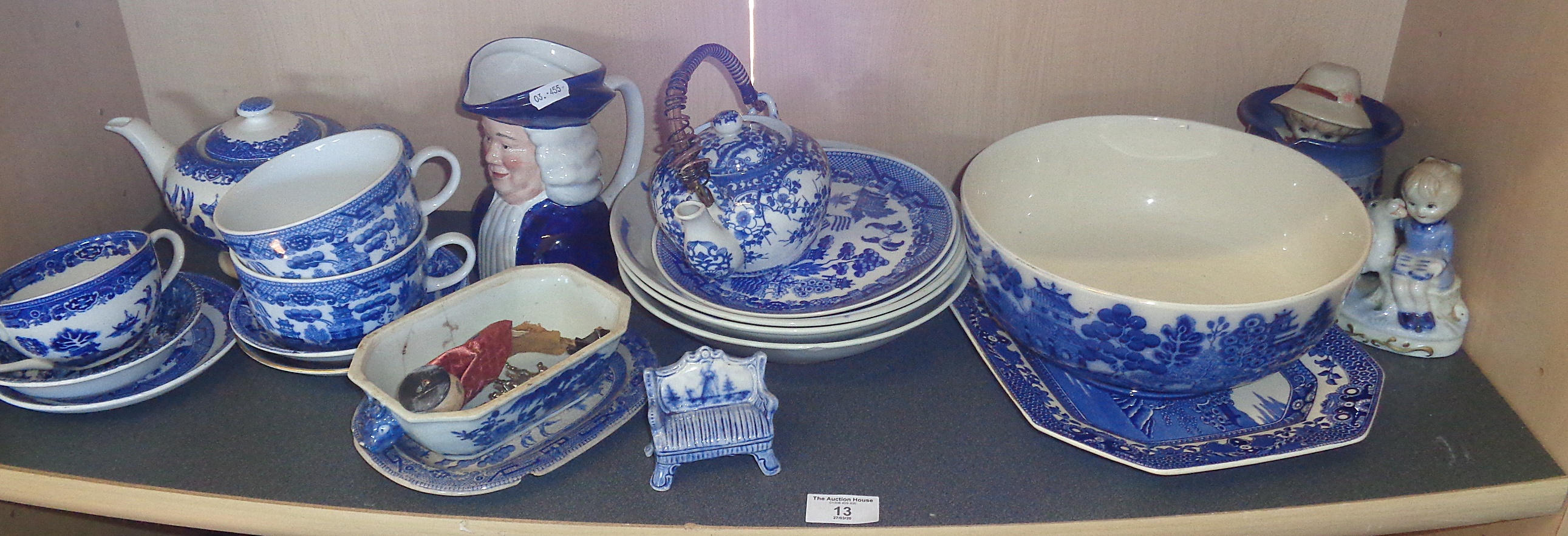 """Lot 13 - Shelf of assorted blue and white china, inc. Doulton """"Willow"""" bowl and others"""