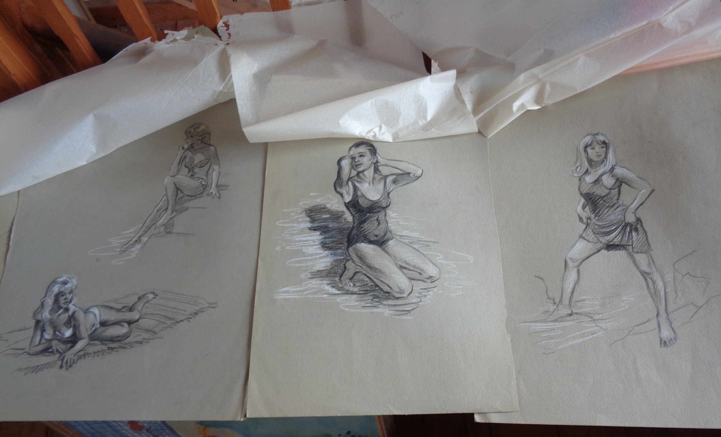 Lot 24 - Folio of sketches with 3 original illustrations for Enid Blyton books by Dorothy Brook, and