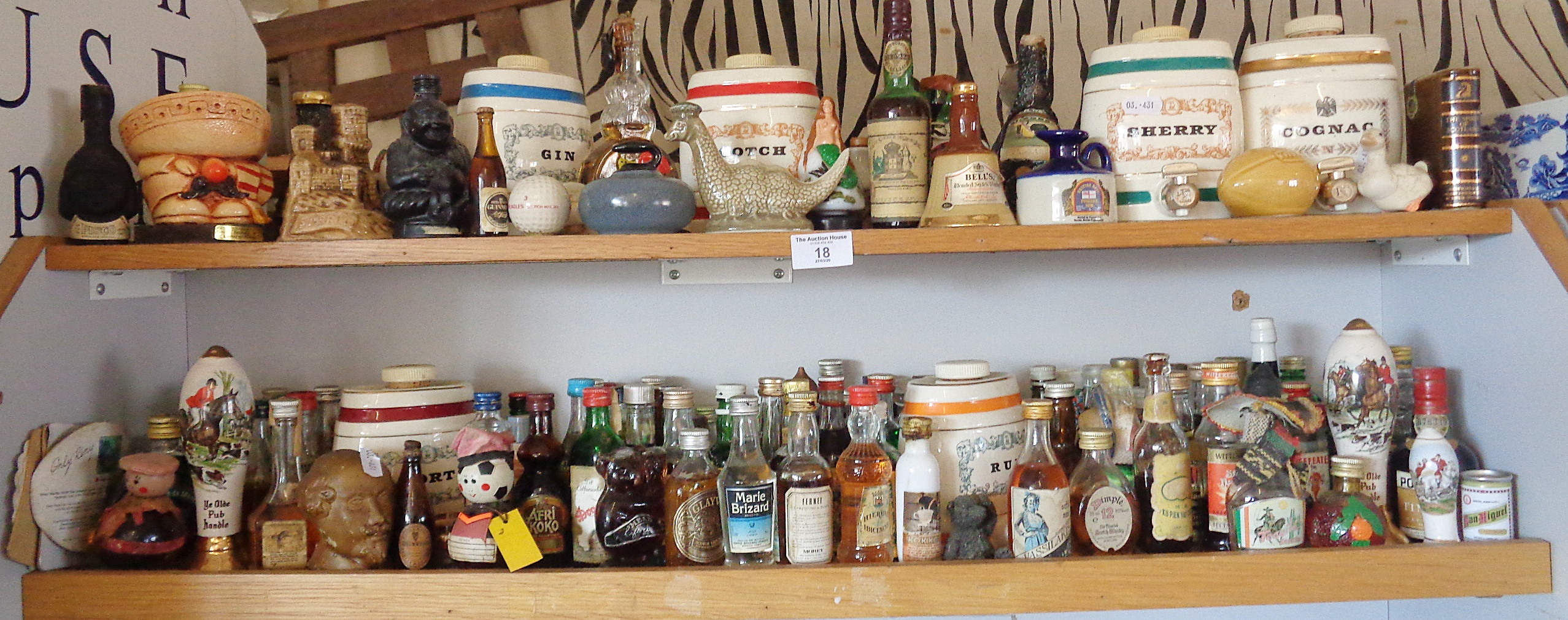 Lot 18 - Large collection of spirit and miniature bottles (2 shelves)