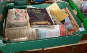 Box of ephemera including Theatre Programmes etc and a 1923 issue of 'The Steam Car'
