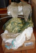 Two boxes of assorted Indian silk shawls, scarves, fabrics, handbags and an embroidered Indian