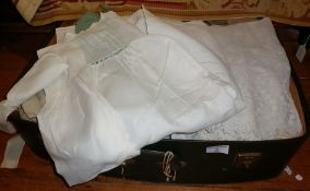 Suitcase of Victorian and later child's nightgowns including lacework examples