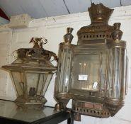 Moroccan brass tin and glass wall light and a similar hall light