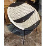 1960's woven vinyl bucket chair on steel legs