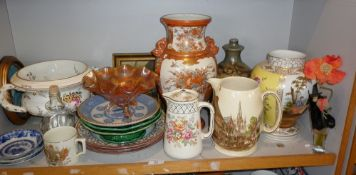 Shelf of assorted china
