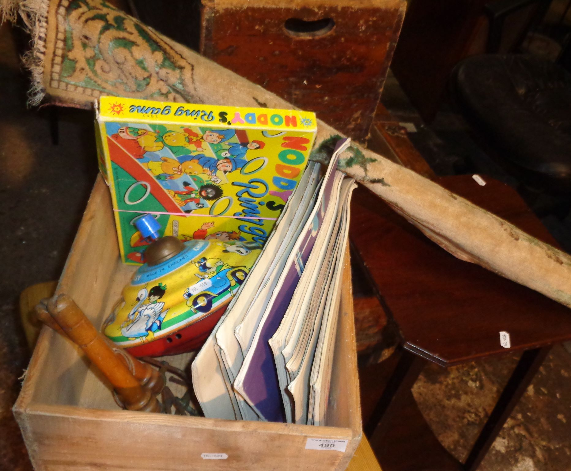 Chad Valley spinning top, sheet music, Noddy's ring game etc., and a table