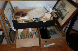 Three boxes of assorted photographs including Victorian cabinet cards, snapshot albums and