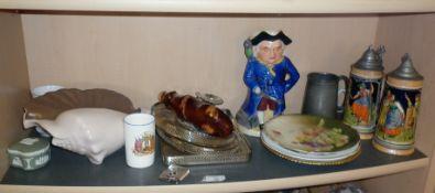 Shelf of assorted china etc. inc. musical Toby Jug Long John Silver, Poole Pottery shell, King