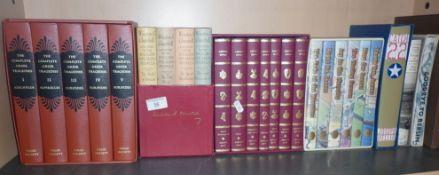 Shelf of Folio Society books including 'Catch 22' and 'Jeeves' set etc