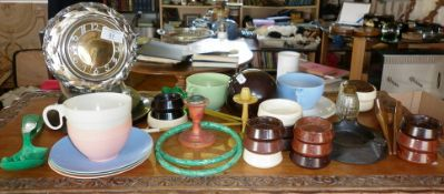 Assorted Bakelite items and a chrome and plastic Russian mantle clock, c. 1950