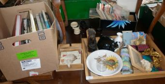 Two boxes of assorted items and some books