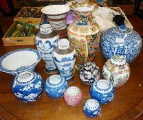 Chinese ginger jars and vases, prunus pattern and other Chinese porcelain
