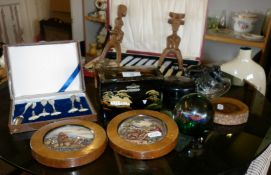 Two pot lids, paperweights, lacquered jewellery box, cased fish knife set etc