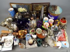 A mixed lot to include ceramics, glassware, plated ware, camera, pictures and similar, two boxes.