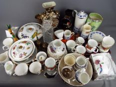 A mixed lot to include ceramics, glassware, plated ware, brassware and similar, two boxes.