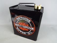 A 'Harley-Davidson' petrol can in black.