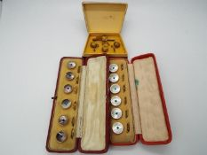 Two cased sets of six, stone set dress studs and one similar set of three with pin.
