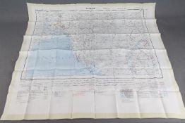 Cold War Fabric Survival Map of Arakan and Irrawaddy, 1957- Double-sided,