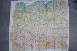 WW2 British Silk Escape Map of Europe- Double-sided, marked 43 E and 43 F.