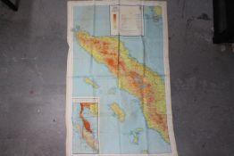 WW2 Silk Escape Map of Siam (Thailand), Malaya and Sumatra- Marked Sheet No. 44 E and F.