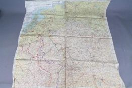WW2 Silk Escape Map of Europe- Sheet C Holland, Belgium, France, Germany and Sheet D France,