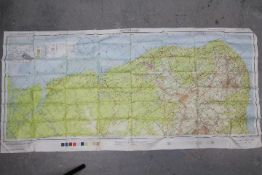 WW2 US AFF Cloth Chart of South America, 1944- British and French Guiana (No.