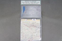 Rare Cold War RAF Cloth Escape Map, 1951- Double-sided showing Beirut-Damascus/Jordan-Saudi Arabia.