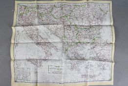 WW2 Silk Escape Map of Southern Europe and Mediterranean. Undated. Double-sided. Good condition.