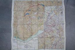 WW2 British Silk Escape Map of Europe- Double-sided, marked 43 C and 43 D.