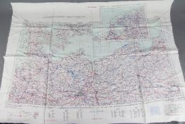 Cold War Silk Escape Map of Europe, 1953- published by War Office, 1953. Double-sided.