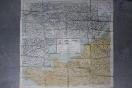 Rare WW2 Silk Escape Map of Europe- Marked 43 A and B.