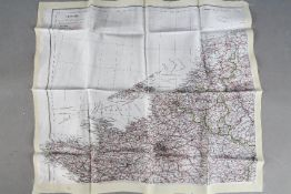 WW2 Silk Escape Map of Northern Europe, France, Holland, etc - Double-sided, undated.