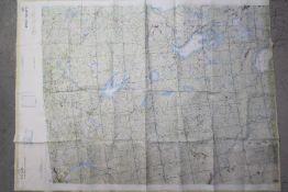 Cold War USAF Operational Navigational Fabric Chart- ONC D-3 undated c.