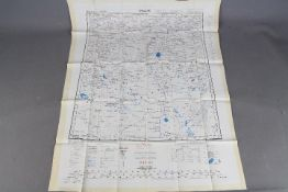 Cold War Fabric Escape Map Russia, 1957- Double- sided, Uralsk and Chkalov,