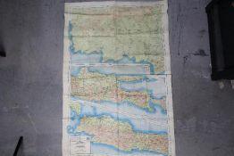 Rare WW2 British RAF Silk Escape Map-South Pacific, showing Borneo, Sumatra and Java,