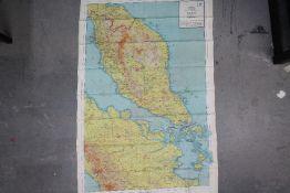 WW2 Silk Escape Map of Siam (Thailand) , Malaya and Sumatra- Marked Sheet No. 44 E and 44 F.