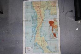 Rare WW2 RAF Silk Escape Map of India- Double sided, Sheet C- Burma, Siam and French Indo China,