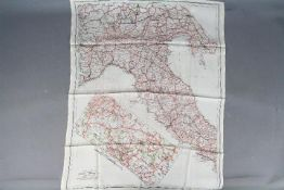 WW2 Silk Escape Map of Italy-Double-sided, undated. Folded. Good condition. 62 cm by 50 cm.