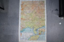 Rare WW2 Silk Escape Map of China- Double-sided, marked 44M and 44L.