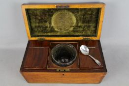 An early 19th century tea caddy, the interior fitted with two subsidiary caddies and mixing bowl,