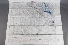 Cold War Silk Escape Map of Asia (Baghdad and Basra),1953- Published by the War Office.