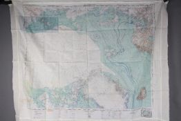 """Cold War Silk Survival Chart, 1951- """"USAF CLOTH CHART"""" double-sided,"""