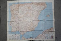 Cold War Fabric Escape Map, 1953- War Office silk map of France and Spain. Double sided.