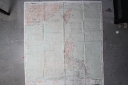 WW2 Silk USAF Cloth Chart, 1950 - Thailand (CL-406) and Northern Philippines (CL-407),