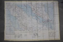 Cold War Fabric Escape Map of Penang and Singapore 1957- Produced by the War Office, Edition I-GSGS.