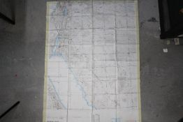 WW2 US Air Force Operational Navigation Chart, Israel, 1969- GSGS Misc 350. Fabric chart, ONC H-5/6.