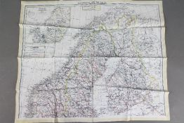 Rare WW2 Silk Escape Map of Scandinavia and the Baltic, 1940- double-sided,